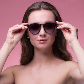 "Очки солнцезащитные ""Аан"", uv400,14.5х14.5х5.7 см, линза 4.2х4.9 см, чёрные"