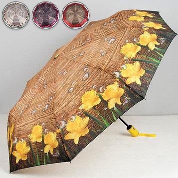 Зонт автоматический «Цветы», 3 сложения, 9 спиц, R = 51, цвет МИКС