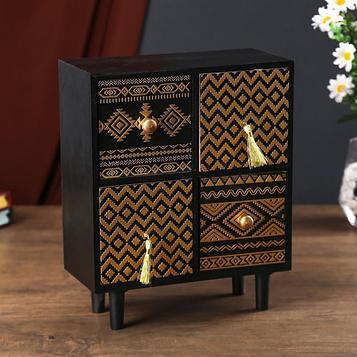 """Шкатулка дерево комод ретро 4 ящика """"Узоры"""" чёрная с золотым рисунком 26,5х11,5х22 см"""