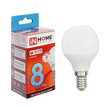 Лампа светодиодная IN HOME LED-ШАР-VC, Е14, 8 Вт, 230 В, 4000 К, 720 Лм