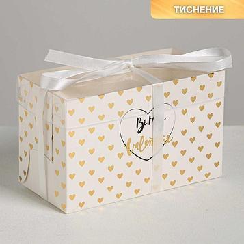 Коробка на 2 капкейка Be my Valentine, 16 × 8 × 10 см