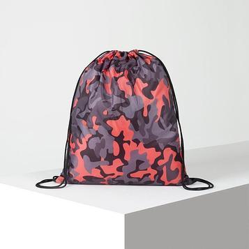 Мешок для обуви, отдел на шнурке, цвет розовый/серый