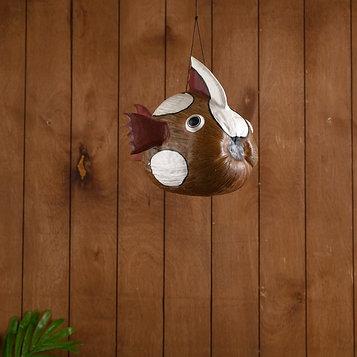 """Сувенир из кокоса """"Рыбка коричневая"""" подвесной 33х25х24 см"""