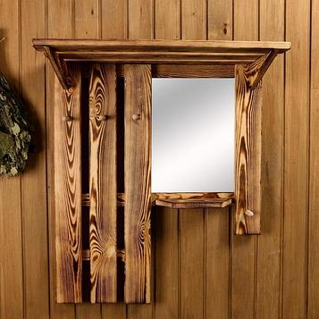 Полка-вешалка большая, обожжённая с зеркалом, 3 крюка