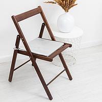 Сидушка на стул блэкаут с тисн листья 34х34х1,5см серебро пэ100%