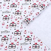"""Набор бумаги упаковочной глянцевой """"Пингвины"""", 50 × 70 см, 2 листа"""