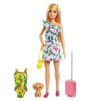 Игровой набор «Кукла Барби блондинка в платье с питомцем и аксессуарами»