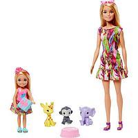 Игровой набор кукла Барби и Челси с питомцами жираф, слон и обезьянка