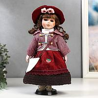 """Кукла коллекционная керамика """"Брюнетка с кудрями, в розовом пиджаке и бордовой юбке"""" 30 см"""