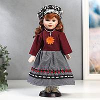 """Кукла коллекционная керамика """"Рыжая в бордовой кофте и юбке в клетку"""" 30 см"""