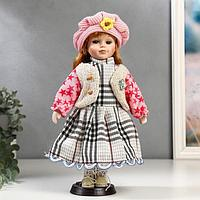"""Кукла коллекционная керамика """"Рыжая в бежевой жилетке и розовом берете"""" 30 см"""
