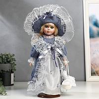 """Кукла коллекционная керамика """"Маленькая мисс в голубом платье"""" 30 см"""