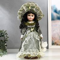 """Кукла коллекционная керамика """"Маленькая мисс в оливковом платье"""" 30 см"""