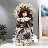 """Кукла коллекционная керамика """"Маленькая мисс в шоколадном платье"""" 30 см"""