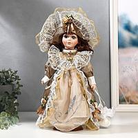 """Кукла коллекционная керамика """"Маленькая мисс в золотистом платье"""" 30 см"""