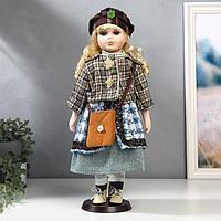 """Кукла коллекционная керамика """"Блондинка с кудрями, клетчатый зелёный пиджак"""" 40 см"""
