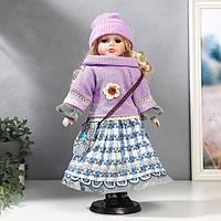 """Кукла коллекционная керамика """"Блондинка с кудрями, сиреневый свитер и шапочка"""" 40 см"""