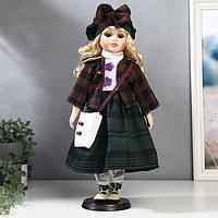 """Кукла коллекционная керамика """"Блондинка с кудрями, юбка в синюю клетку и берет"""" 40 см"""