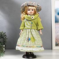 """Кукла коллекционная керамика """"Блондинка с кудрями, в зелёном свитере с тесьмой"""" 40 см"""