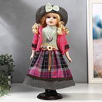"""Кукла коллекционная керамика """"Блондинка с кудрями, розовый пиджак и клетка"""" 40 см"""