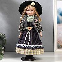 """Кукла коллекционная керамика """"Блондинка с кудрями, фиолетовый полосатый сарафан"""" 40 см"""