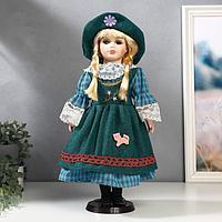 """Кукла коллекционная керамика """"Блондинка с косами, зелёный сарафан и платье в клетку"""" 40 см"""