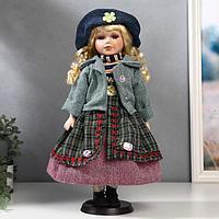 "Кукла коллекционная керамика ""Блондинка с косами, сарафан голуб.клетка, зелён.пиджак"" 40 см"
