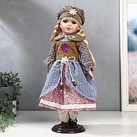 """Кукла коллекционная керамика """"Блондинка с косами в многослойном платье"""" 40 см"""
