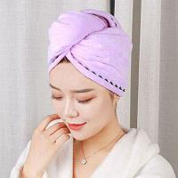 Полотенце для сушки волос банное тюрбан из микрофибры с пуговицей сиреневое