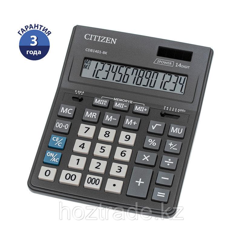 Калькулятор настольный Citizen Business Line CDB1401-BK, 14 разрядов, двойное питание, 155*205*35мм, черный