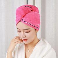 Полотенце для сушки волос банное тюрбан из микрофибры с пуговицей розовое
