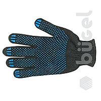 Перчатки хб с ПВХ 67 гр, черные синяя точка