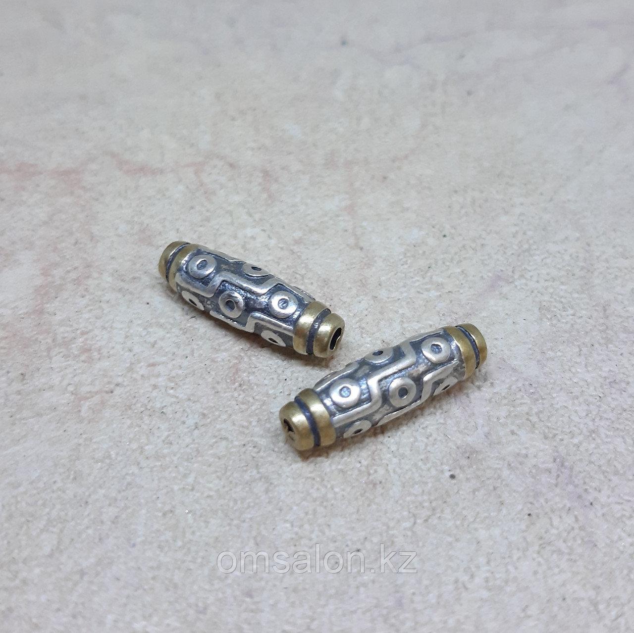 Бусина Дзи 9 глаз из серебра с позолотой, 16*5мм