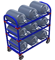 Стеллаж передвижной для 19-литровых бутылей с водой ТСВД-9 (без колес), 125 мм+20 000 т,  160 мм+28