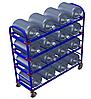 Стеллаж передвижной для 19-литровых бутылей с водой ТСВД-16 (без колес), 125 мм+20 000 т,  160 мм+28 000 т.