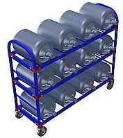 Стеллаж передвижной для 19-литровых бутылей с водой ТСВД-12 (без колес),125 мм+20 000 т,  160 мм+28