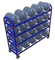 Стеллаж передвижной для 19-литровых бутылей с водой ТСВД-20 (без колес), 125 мм+20 000 т,  160 мм+28 000 т.