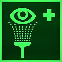 """ФЭС-24 Знак ES 04 """"Пункт обработки глаз"""" на фотолюминесцентной пленке, размер 100*100"""