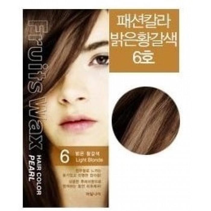 Welcos Краска для волос (светлый блонд) Fruits Wax Hair Color 6 Light Blonde / 120 мл.
