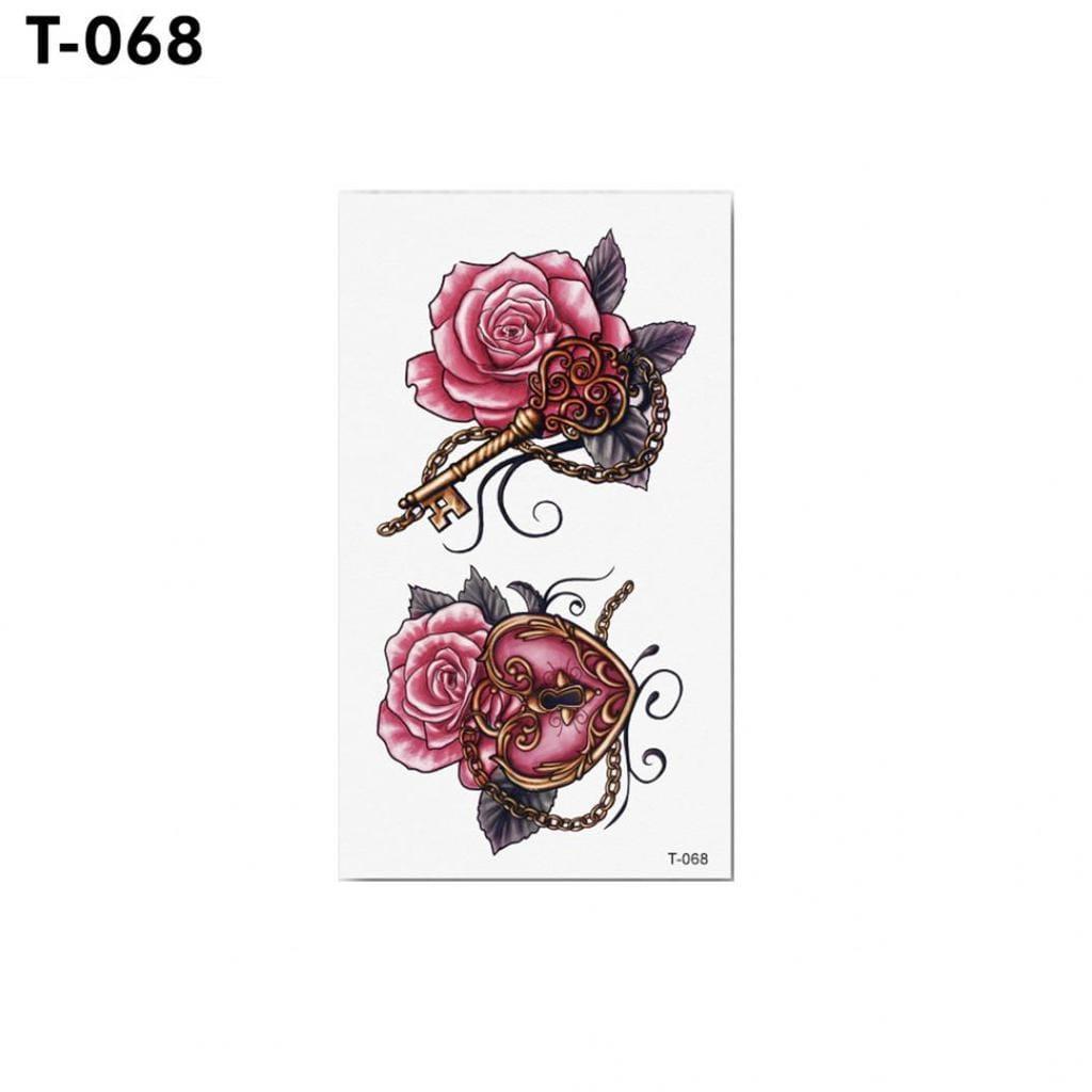 """Водостойкая временная тату - наклейка """"Розовые розы"""""""