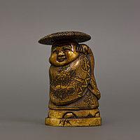 Окимоно «Кубера» дарует людям счастье и успех. Авторская резьба, клык бегемота. Япония, начало ХХ века.
