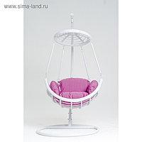 Подвесное кресло, с подушкой, искусственный ротанг, цвет белый, 44-004-17