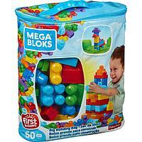 Конструктор 60 деталей Mega Bloks First Builders, цвет голубой