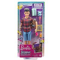 Кукла Кен «Няня» в рубашке и шортах с малышом и аксессуарами