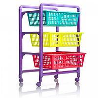 Контейнер для игрушек с выдвижными лотками на колесах 450*311*662 мм 46000 (003)