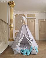 Детская палатка вигвам серый со звездами