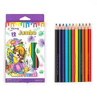 Набор цветных карандашей 12 цветов в картонной коробке Yalong толстые, трехгранные
