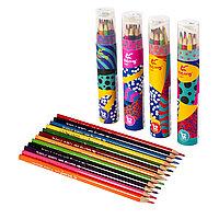 Карандаши цветные 12 цветов Yalong+точилка трехгранные YL 10048-12 туба картонная