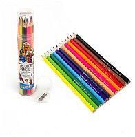 Карандаши цветные 12 цветов Yalong+точилка трехгранные YL 10031-12 туба картонная