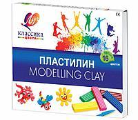 Пластилин классический ЛУЧ «Классика», 16 цветов, 320 г, со стеком, картонная упаковка
